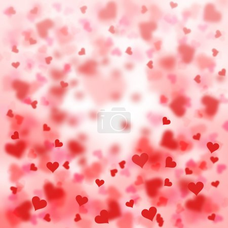 Blurry red hearts background