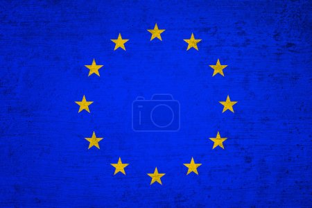 Photo for Aged old textured Europe Union flag. Grunge filter effect used. - Royalty Free Image