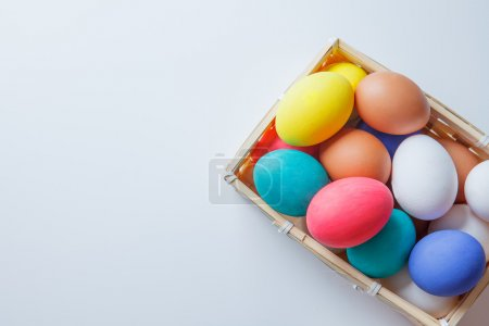 easter eggs in box. happy easter