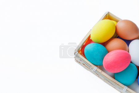 close up of colored easter eggs isolated