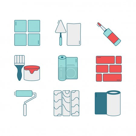Vector set of line icons for DIY, finishing materials, tools.