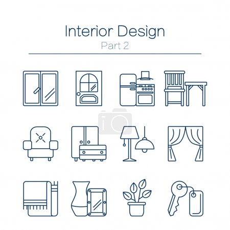 Illustration for Vector set of modern flat line icons for interior design website includes furniture, decor elements and light design symbols. Interior design icons isolated on white background. - Royalty Free Image