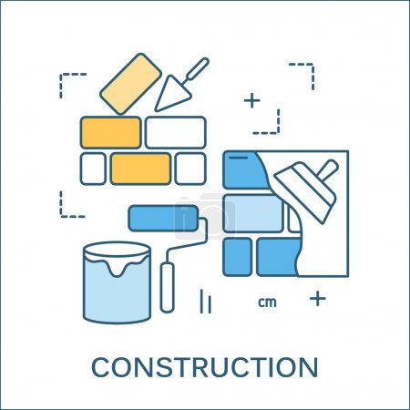 Thin line flat design of construction tools