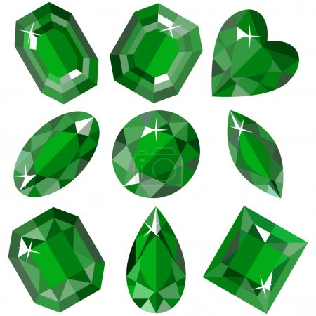 Set of sparkling emeralds of various shapes. Vector illustration.
