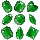 Set of sparkling emeralds of various shapes Vector illustration