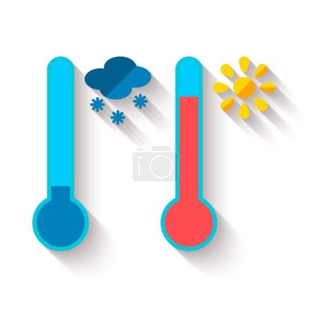Illustration pour Conception plate du thermomètre mesurant la chaleur et le froid, avec des icônes soleil et flocon de neige, illustration vectorielle - image libre de droit