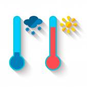 Lapos kivitel, hőmérő, hő és hideg, a nap és a hópehely ikonok, vektor illusztráció