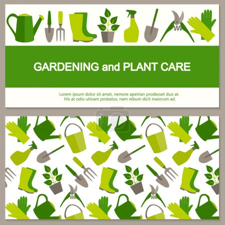 Illustration for Flat design banner for gardening and horticulture with garden tools and seamless pattern. - Royalty Free Image