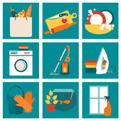 House work concept vector illustration Cleaning design concept with flat icons set
