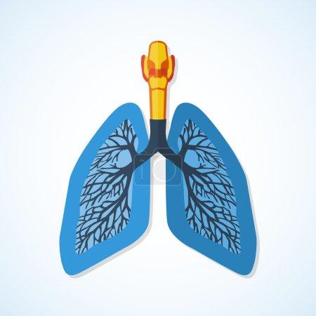 Illustration pour Icône design plat des poumons humains isolés sur fond blanc . - image libre de droit