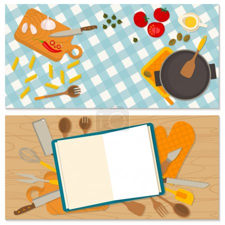 Flat design food and cooking banner.