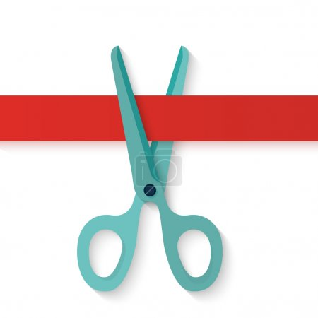 Flat design icon scissors cutting red horizontal ribbon.