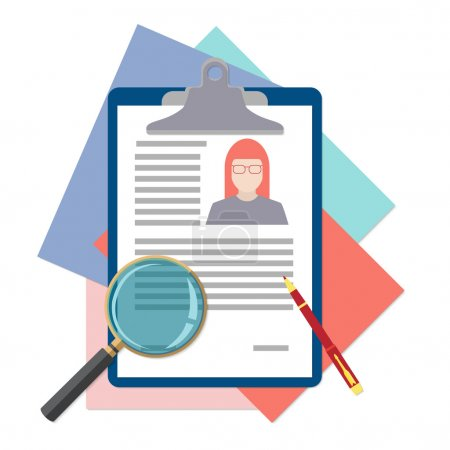 Illustration for Flat design icon of searching professional staff, analyzing resume, recruitment, human resources management, work of hr. Vector illustration. Head hunting concept. - Royalty Free Image
