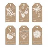 Collection of  kraft paper tags with  summer holiday motifs