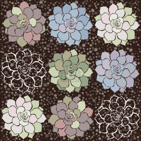 Pattern with succulents.