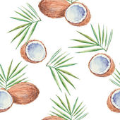 Seamless pattern with coconuts painted in watercolor