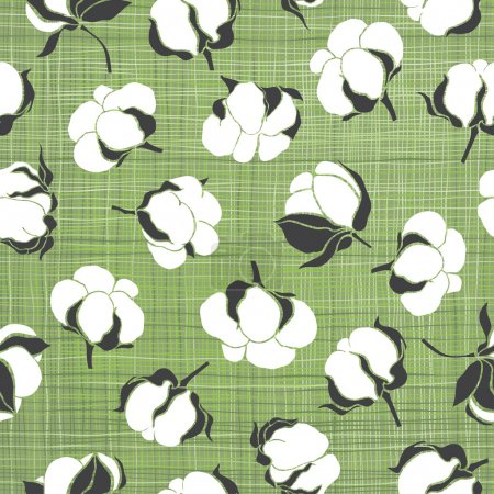 Illustration for Green seamless pattern with soft cotton buds. - Royalty Free Image