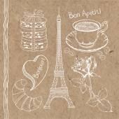 Symbols of France doodles isolated on kraft background