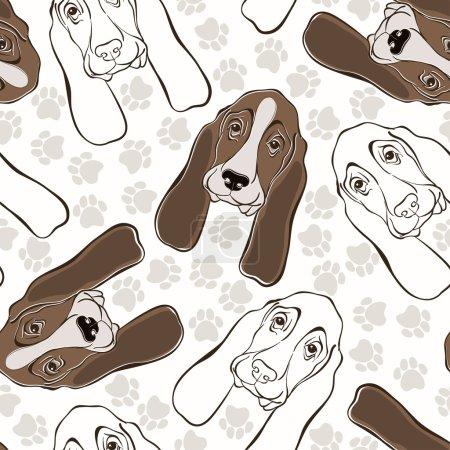 seamless pattern with basset houn