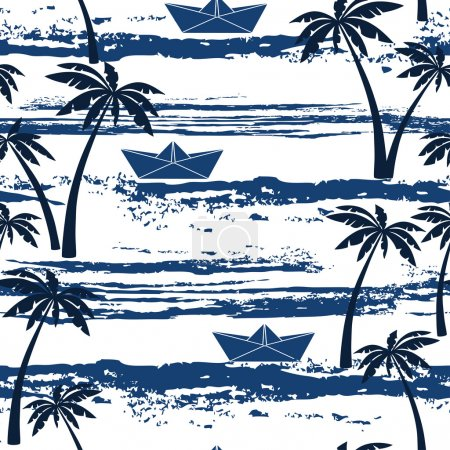 Illustration for Seamless pattern with sea,  palm trees and paper boats. Summer background - Royalty Free Image