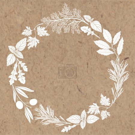Vector frame with spices and herbs on brown backgr...