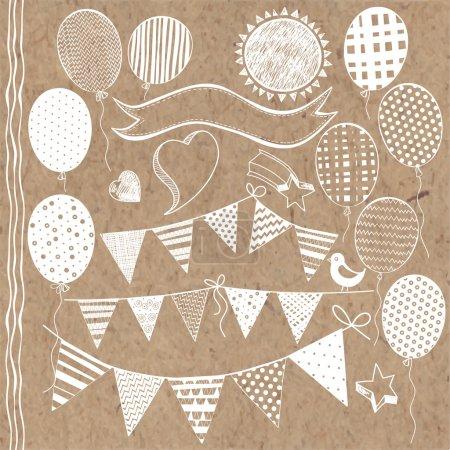 Ilustración de Elementos de escenografía festiva por invitación con banderas de garland - Imagen libre de derechos