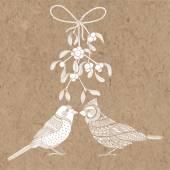 Birds and mistletoe Vector illustration on kraft paper Christmas card
