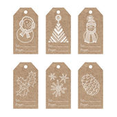 Collection of  kraft paper tags with  christmas motifs vector