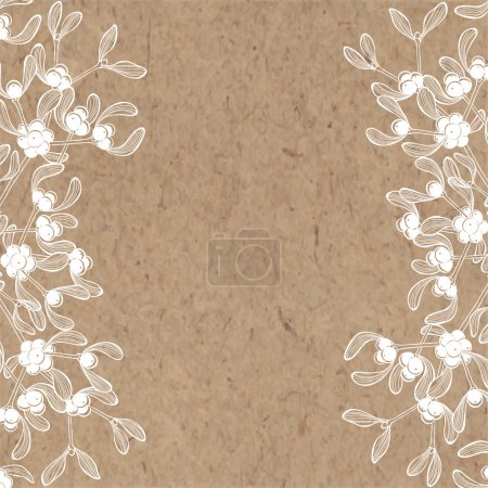 Floral background with mistletoe on kraft paper.