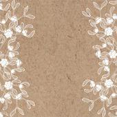 Floral background with mistletoe on kraft paper