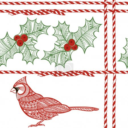 seamless pattern with holly berries, cardinal