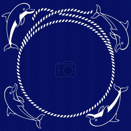 Illustration for Nautical card with round frame, rope and dolphins - Royalty Free Image
