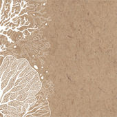 Vector background with marine plants on kraft paper Can be greeting card