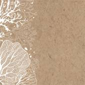 background with marine plants on kraft paper