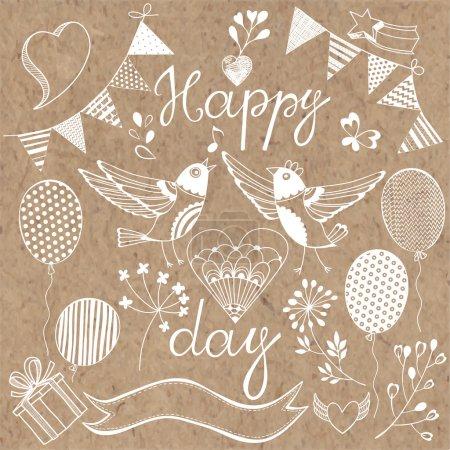 Ilustración de Tarjeta de Pascua feliz. Textura de dibujado a mano - Imagen libre de derechos