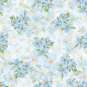 Forget me not flowers seamless pattern Watercolor hand drawn background