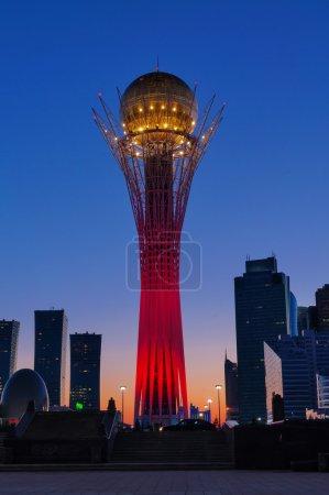 View of Bayterek at night. Astana