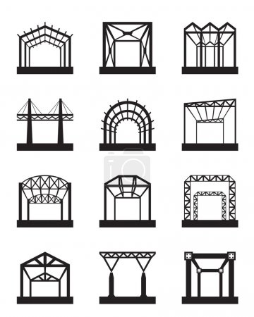 Metal structures icon set