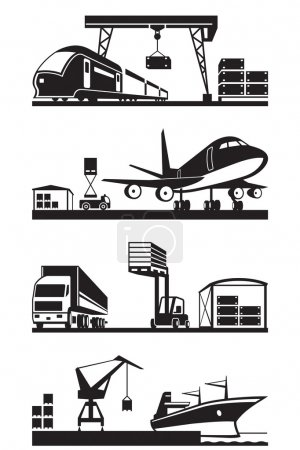 Illustration for Cargo terminals in perspective - vector illustration - Royalty Free Image