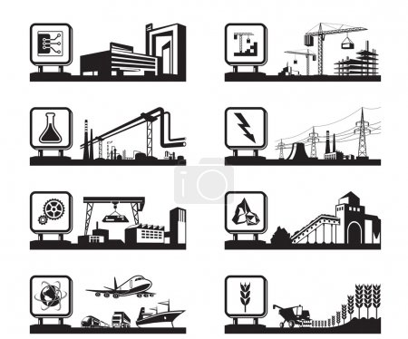 Photo for Different industries with logos - vector illustration - Royalty Free Image