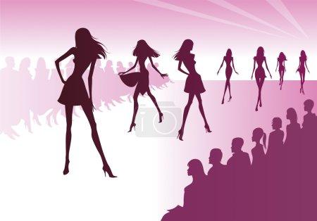 Illustration pour Les modèles de mode représentent de nouveaux vêtements - illustration vectorielle - image libre de droit
