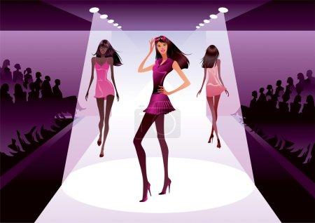 Illustration pour Modèles de mode en revue - illustration vectorielle - image libre de droit