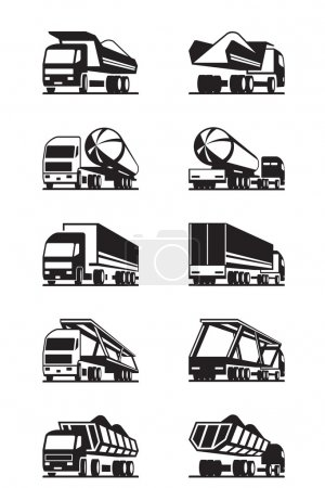 Different types of trucks with trailers