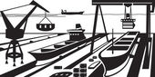 Shipbuilding with docks and cranes