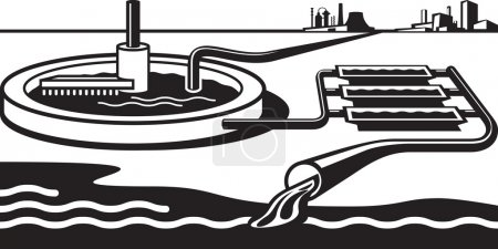 Illustration for Water treatment plant - vector illustration - Royalty Free Image