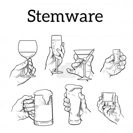 Photo pour La main tient un verre d'alcool. Boissons champagne, bière, tequila, cocktail. Set avec les mains izobrezheniem et l'alcool. Le concept de consommation d'alcool et d'une bonne soirée. . Croquis - image libre de droit