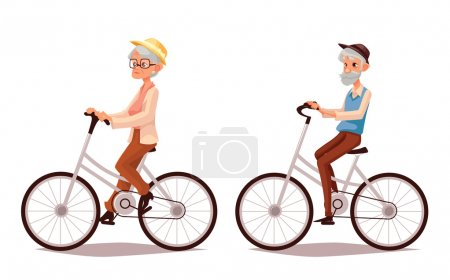 elderly couple riding their bicycles