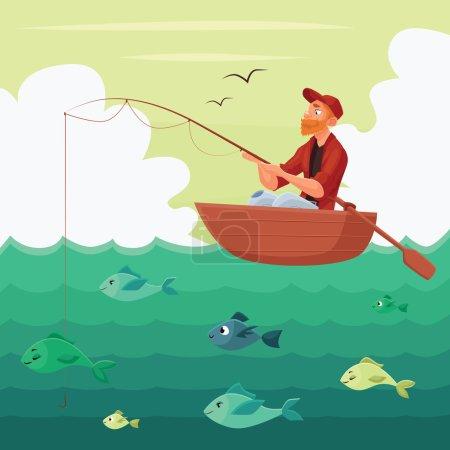 Fisherman sitting in the boat