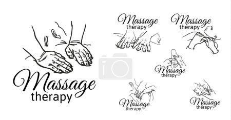 Photo pour Variétés de mains de massage, logos ensemble de types de massages croquis, contour noir et blanc illustration de thérapie de relaxation, pétrissage du corps, visage, dos, jambes, bras . - image libre de droit