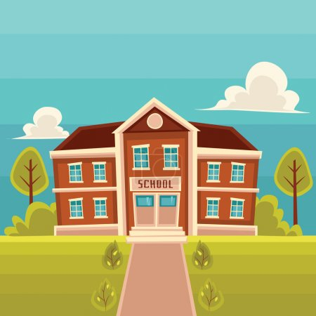 Front view school building cartoon illustration
